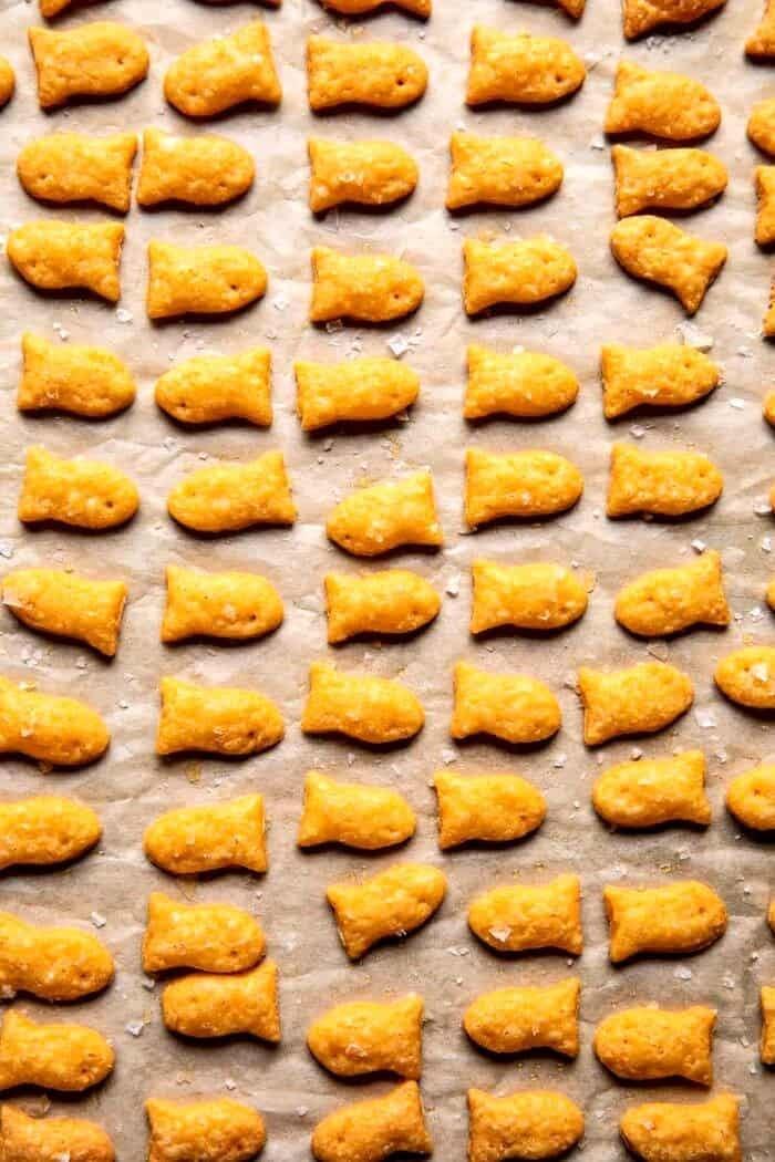 overhead photo of Homemade Goldfish after baking on baking sheet