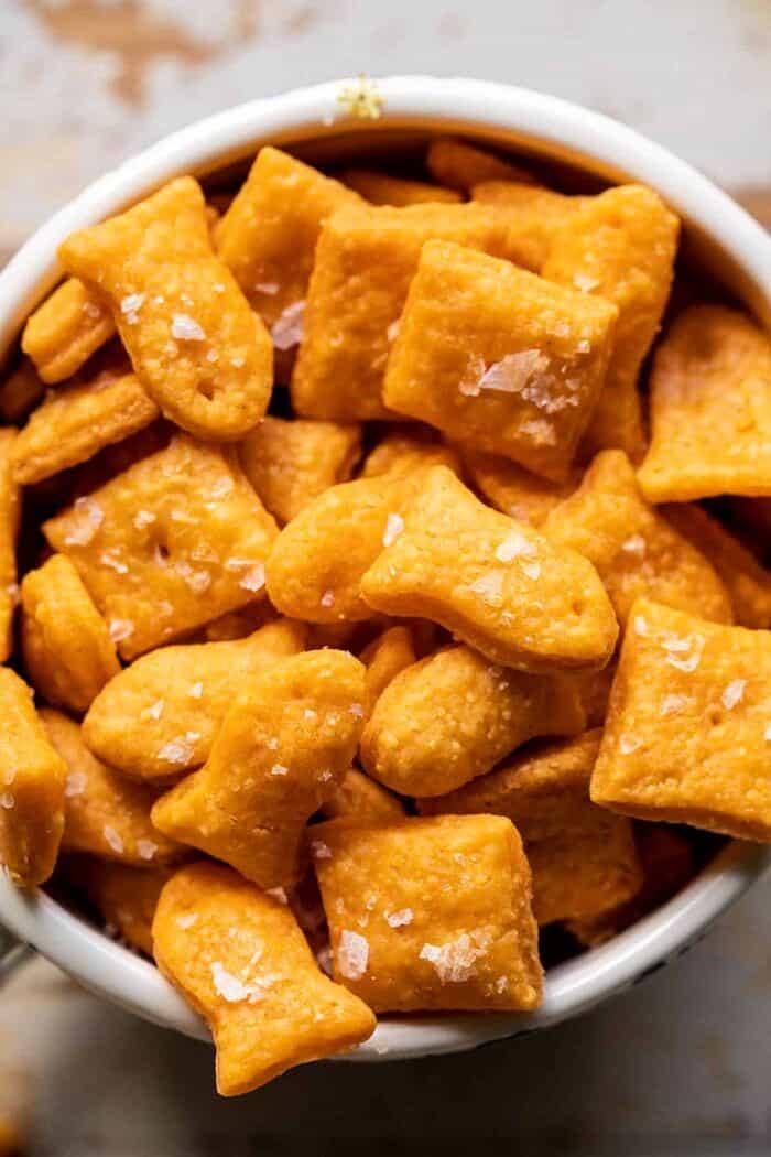 overhead closeup photo of Homemade Goldfish in bowl