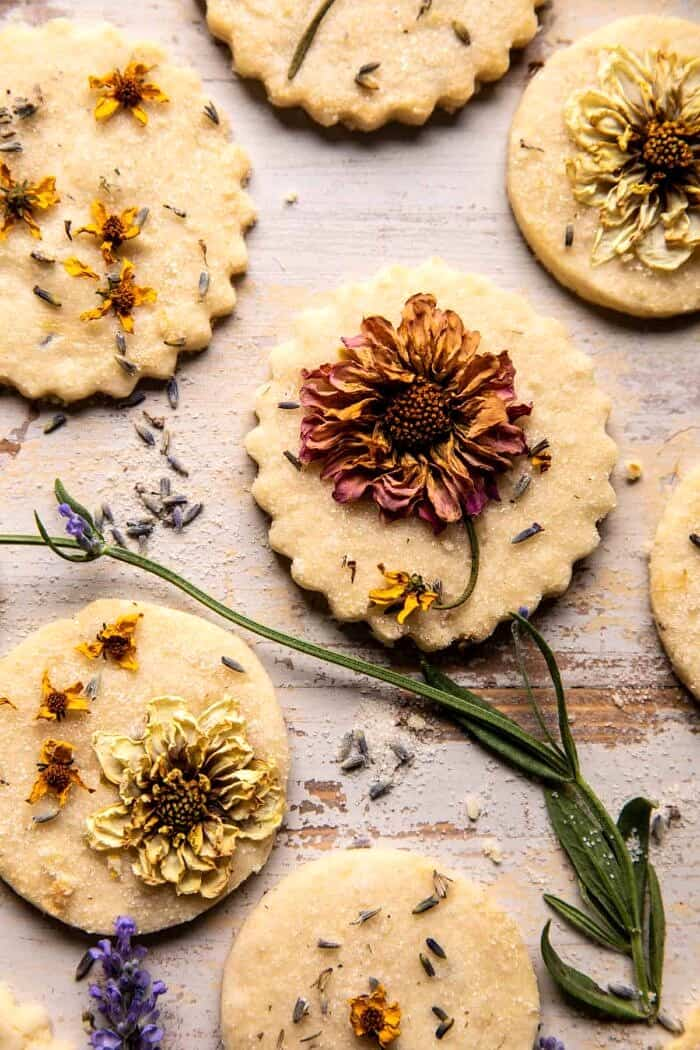 overhead close up photo of Lavender Lemon Sugar Cookies
