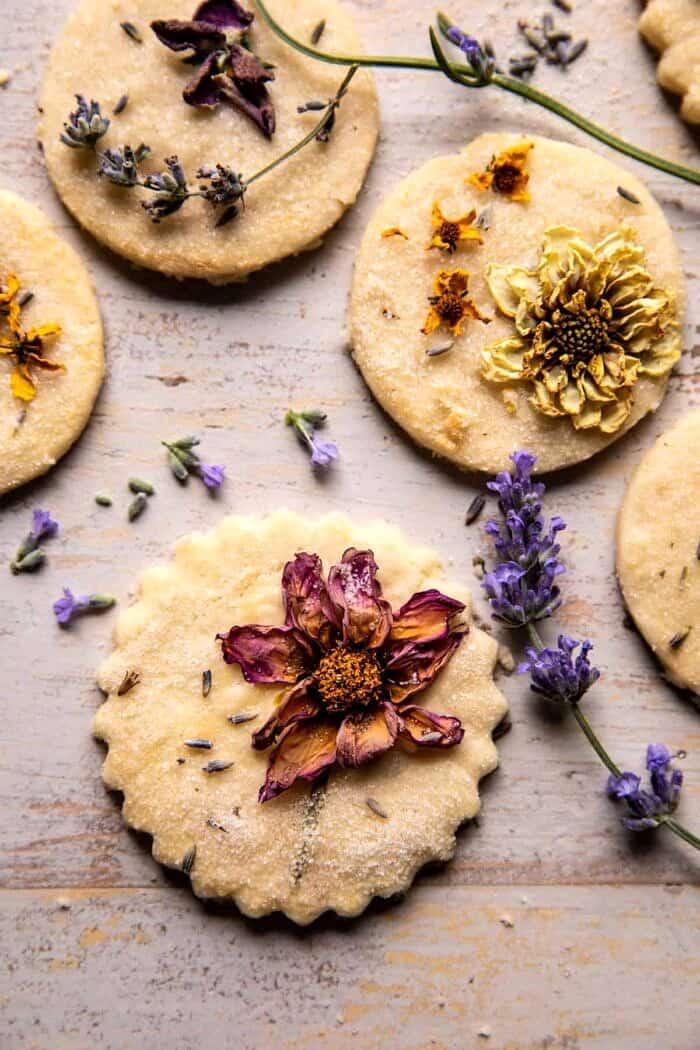 overhead close up photo Lavender Lemon Sugar Cookies