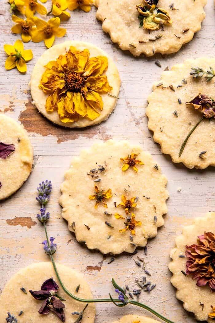 overhead photo of Lavender Lemon Sugar Cookies