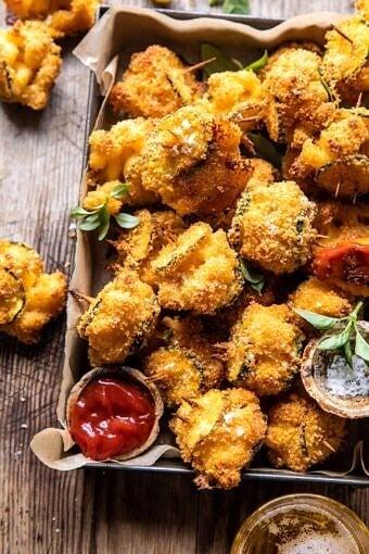 Mac and Cheese Stuffed Oven Fried Zucchini Bites | halfbakedharvest.com