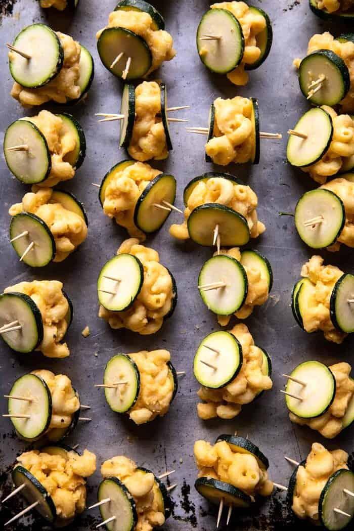 Mac and Cheese Stuffed Oven Fried Zucchini Bites before coating in breadcrumbs