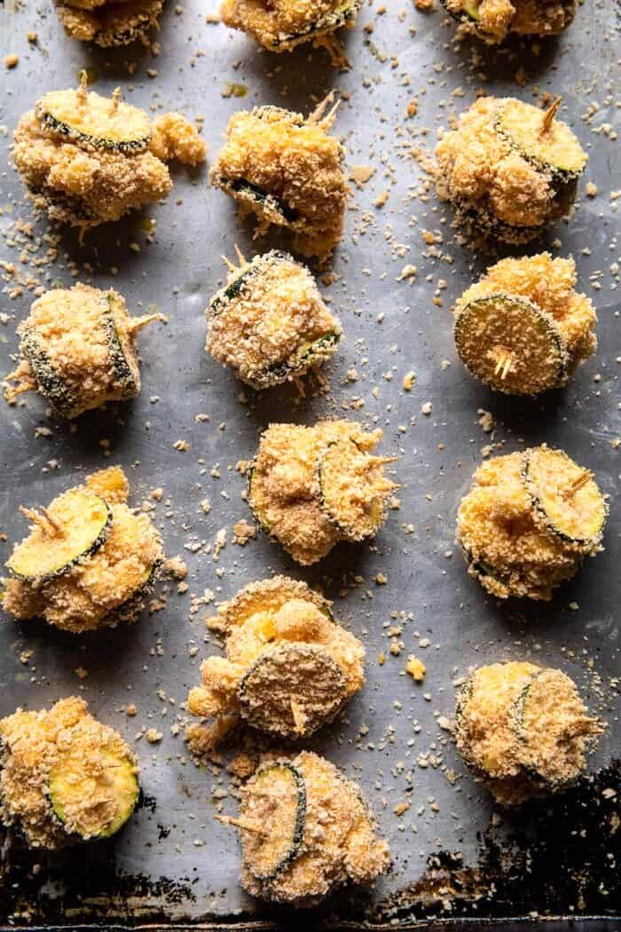 Mac and Cheese Stuffed Oven Fried Zucchini Bites after coating in breadcrumbs, but before baking
