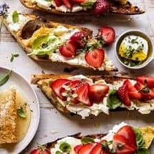Marinated Goat Cheese Strawberry Crostini.