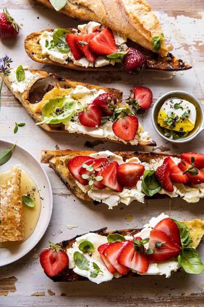 Marinated Goat Cheese Strawberry Crostini | halfbakedharvest.com