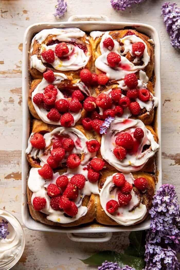 Raspberry Lemon Brioche Rolls with Whipped Ricotta Cream | halfbakedharvest.com