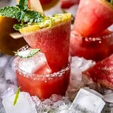 Salted Spicy Watermelon Margarita Popsicles.