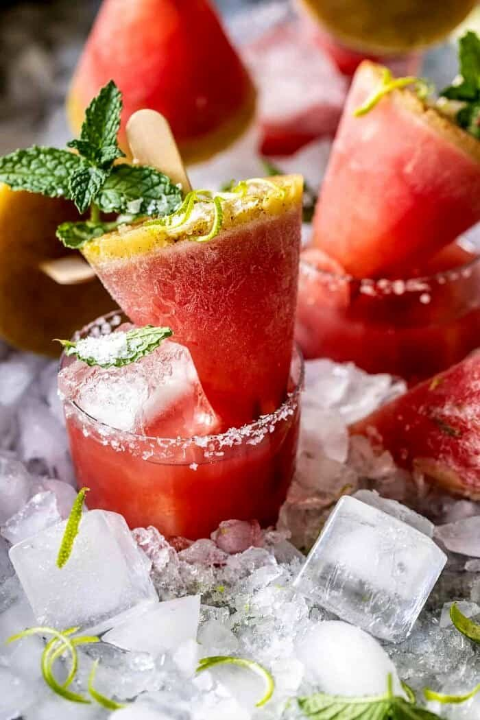Salted Spicy Watermelon Margarita Popsicles | halfbakedharvest.com