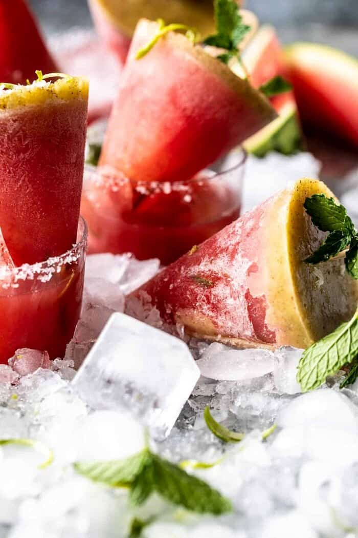 side angled photo of Salted Spicy Watermelon Margarita Popsicles