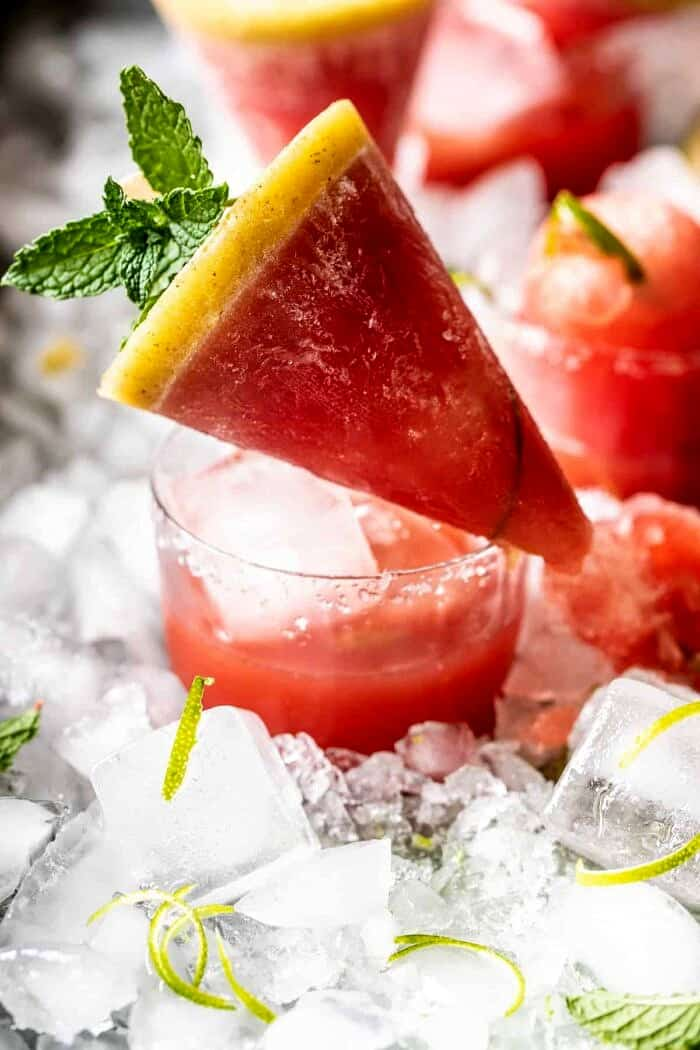 front photo of Salted Spicy Watermelon Margarita Popsicles