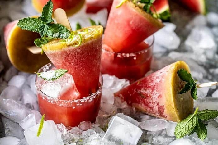 horizontal photo of Salted Spicy Watermelon Margarita Popsicles