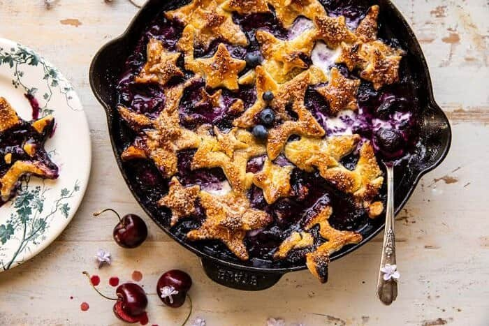 overhead horizontal photo of Skillet Blueberry Bourbon Pandowdy