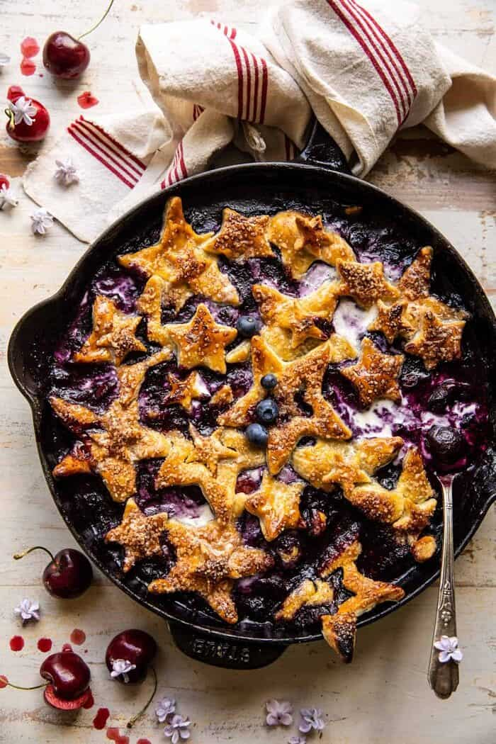 overhead photo of Skillet Blueberry Bourbon Pandowdy