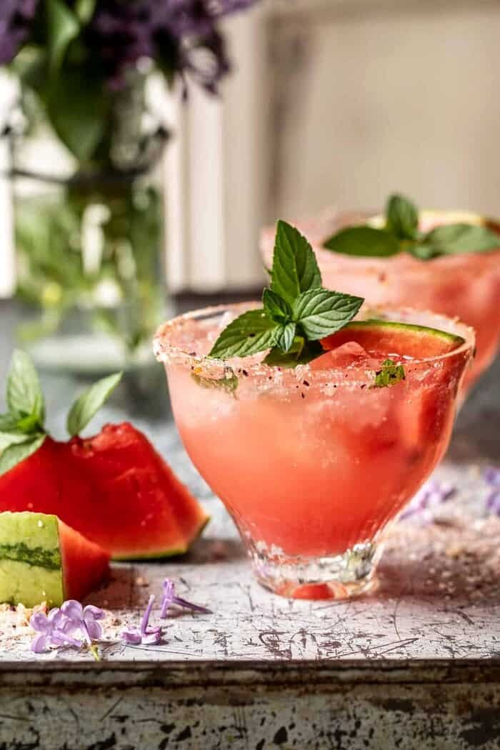 side angled photo of Smoky Watermelon Lemon Margarita
