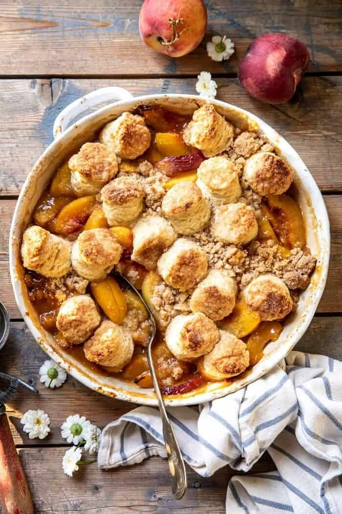 overhead photo of Southern Double Crusted Cinnamon Sugar Peach Cobbler
