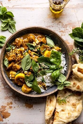 Spicy Coconut Basil Chicken Curry with Garden Vegetables.