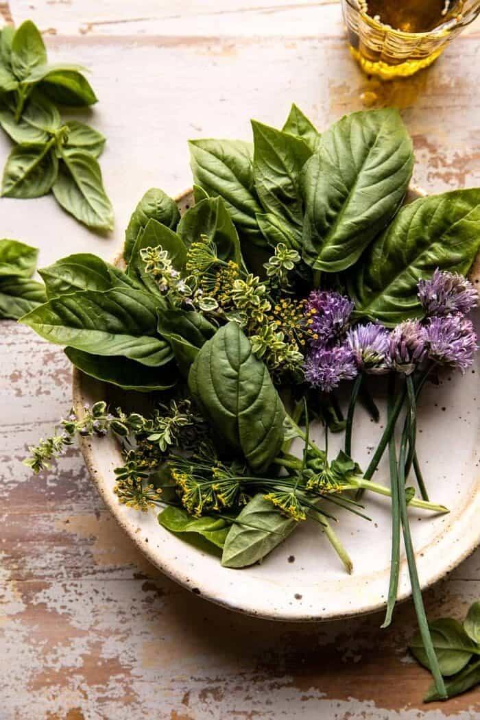 overhead photo of fresh herbs