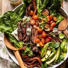 Sweet Potato Fry Steak Salad with Blue Cheese Butter.