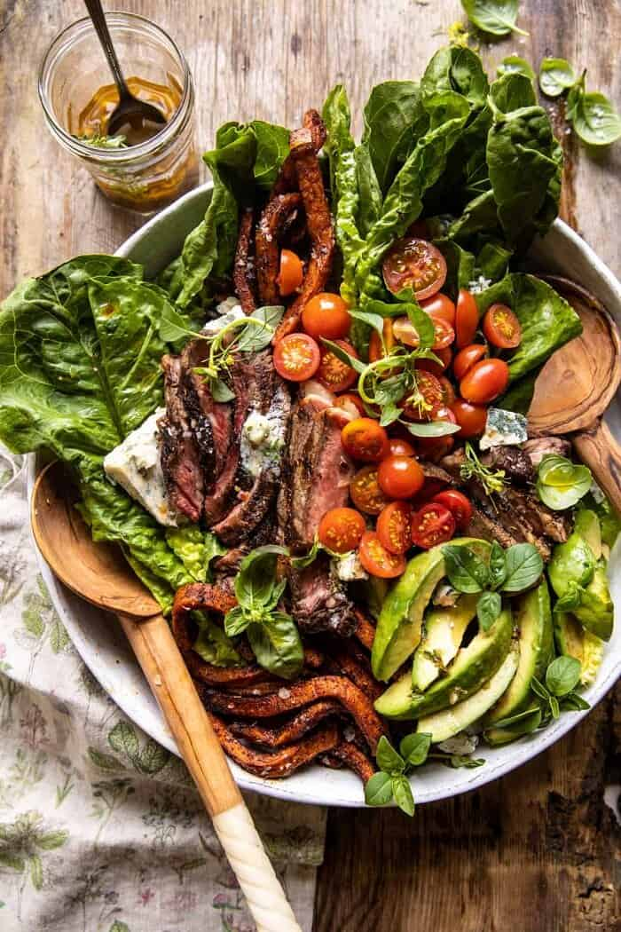 overhead photo of Sweet Potato Fry Steak Salad with Blue Cheese Butter
