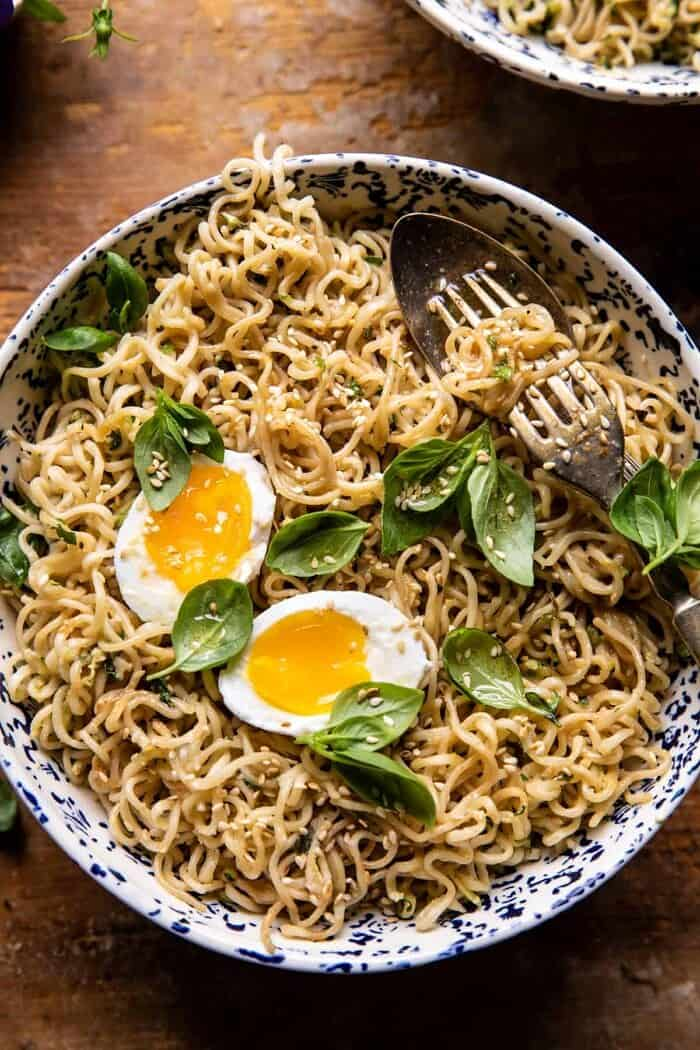 overhead close up photo of 15 Minute Garlic Butter Ramen Noodles with egg