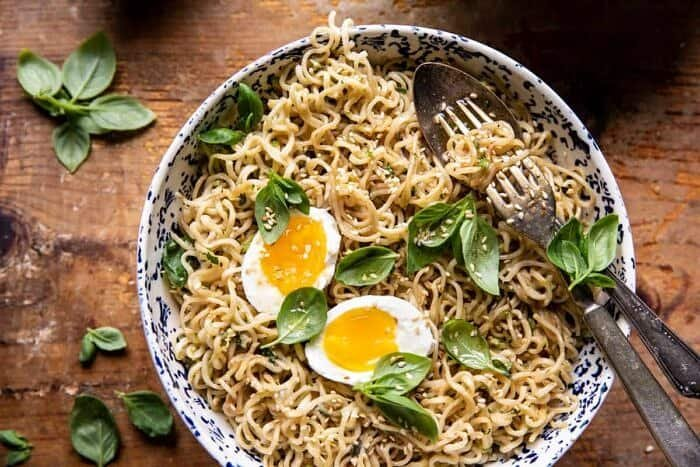 overhead horizontal photo of 15 Minute Garlic Butter Ramen Noodles with egg