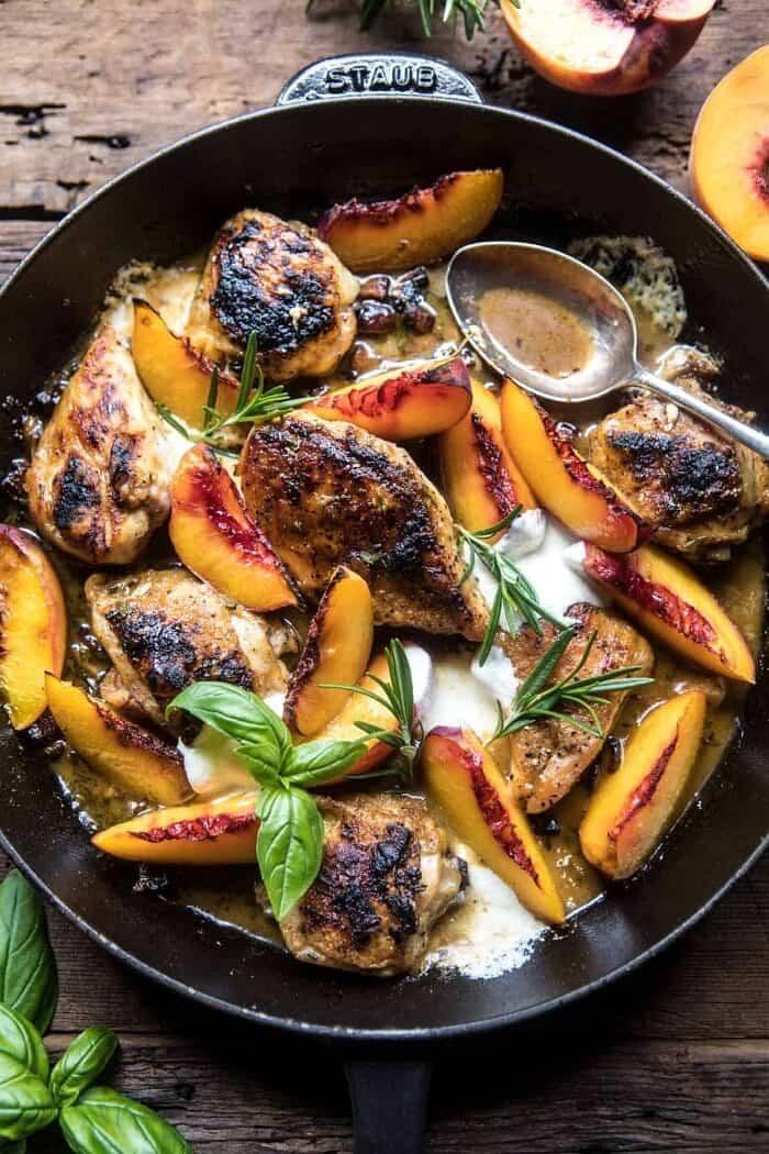 Rosemary Peach Chicken in a White Wine Pan Sauce | halfbakedharvest.com