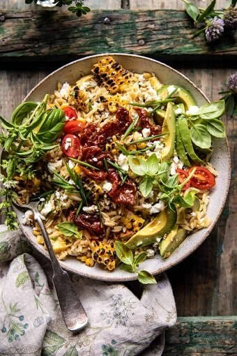 Brown Butter Corn and Feta Orzo with Crispy Prosciutto | halfbakedharvest.com