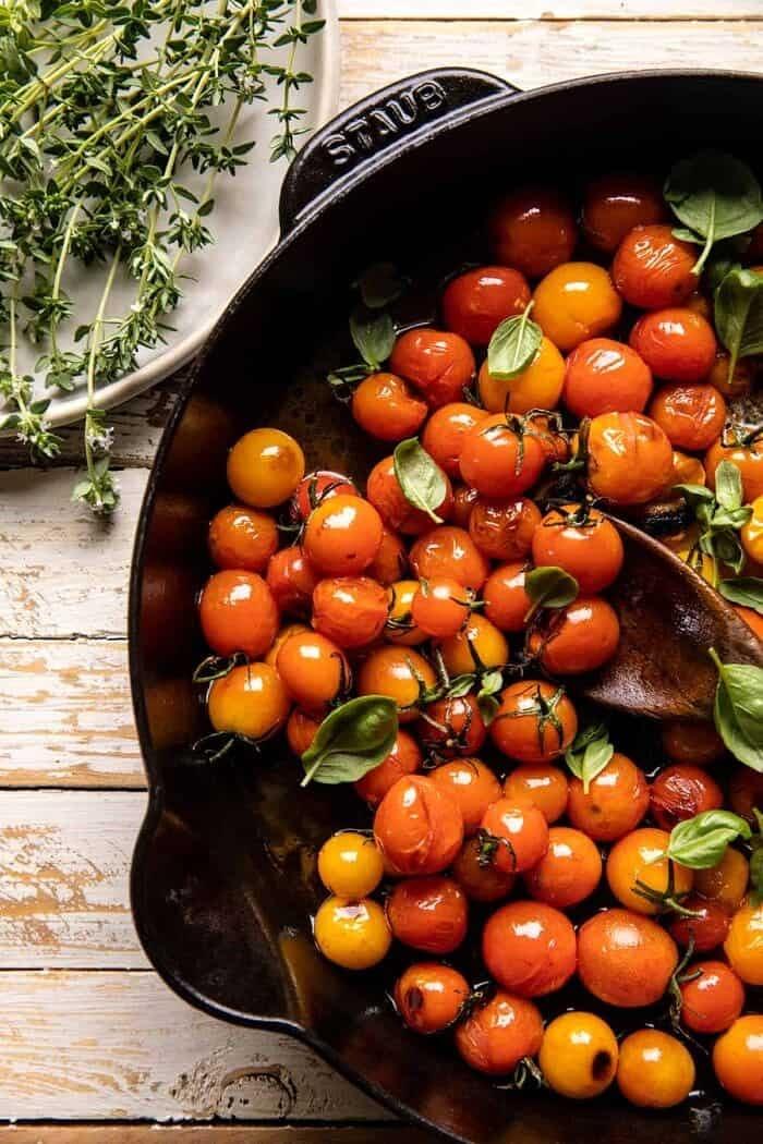 overhead prep photo of Burst Tomatoes in skillet