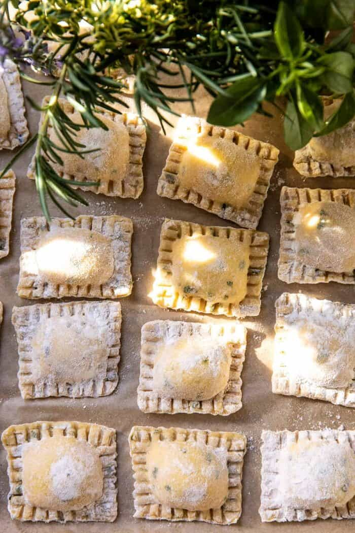 overhead photo of uncooked Cheese Ravioli before boiling