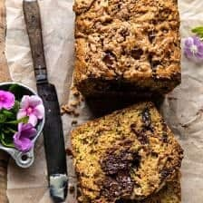 Chocolate Chunk Almond Butter Zucchini Bread.