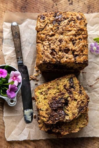 Chocolate Chunk Almond Butter Zucchini Bread | halfbakedharvest.com