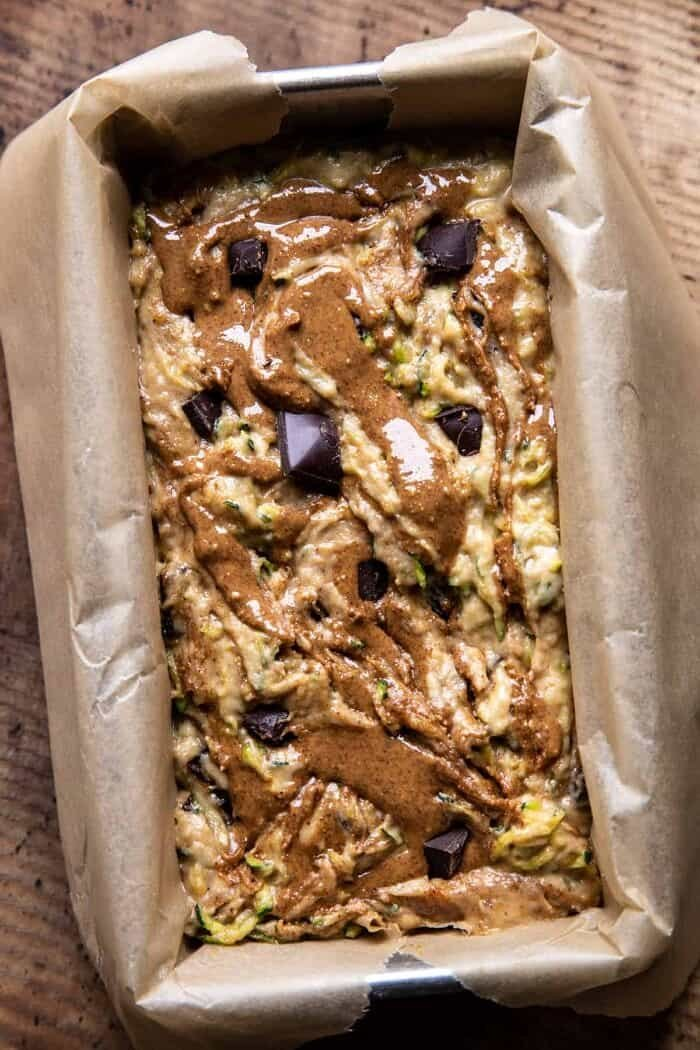 Chocolate Chunk Almond Butter Zucchini Bread | halfbakedharvest.com