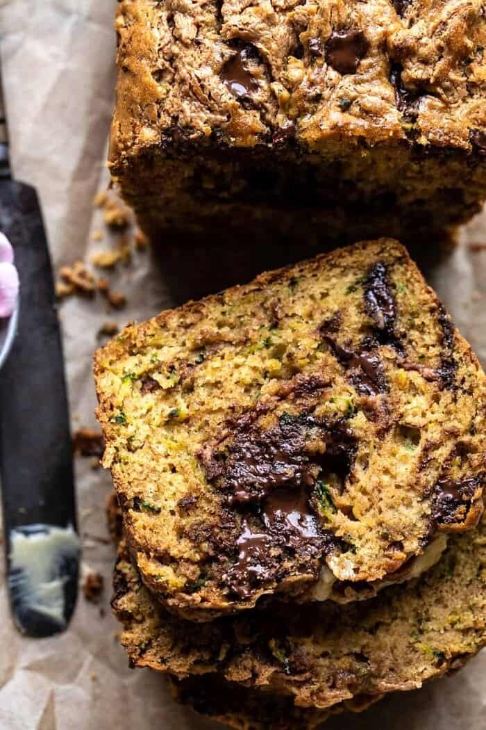 overhead close up photo of Chocolate Chunk Almond Butter Zucchini Bread