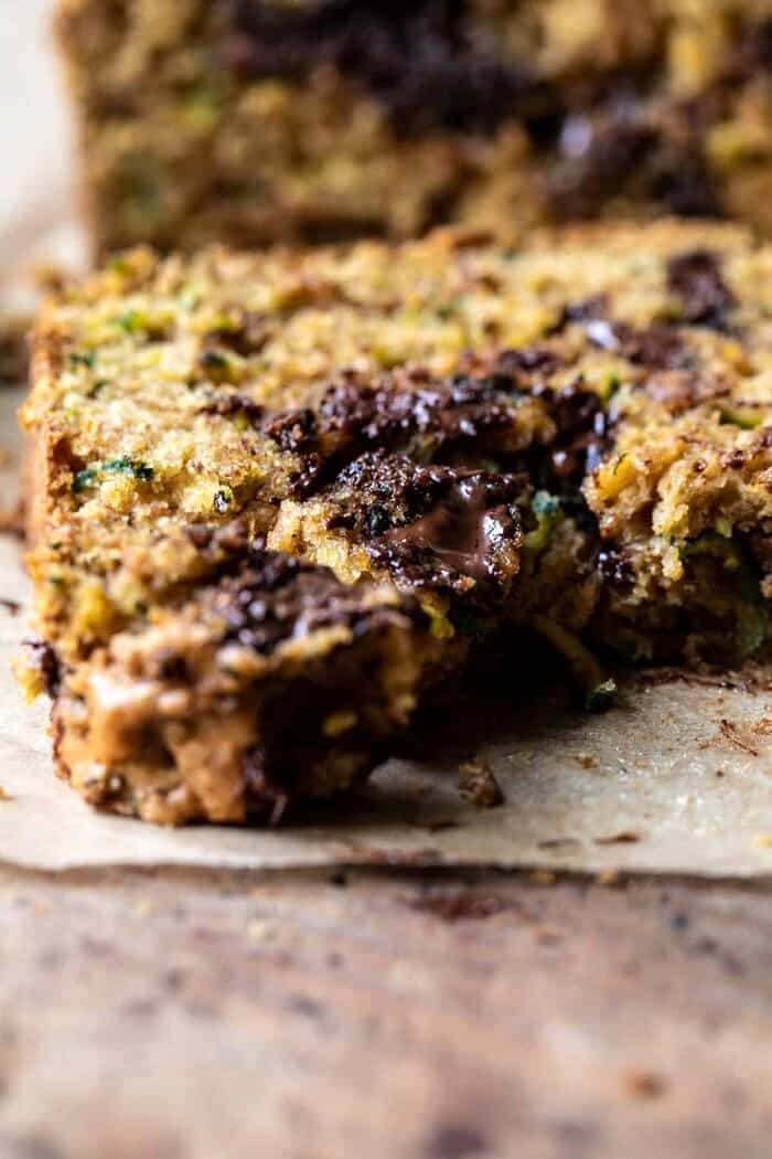 slide angle close up photo of Chocolate Chunk Almond Butter Zucchini Bread