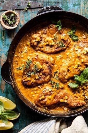 Creamy Cajun Skillet Chicken Lazone with Herby Corn | halfbakedharvest.com