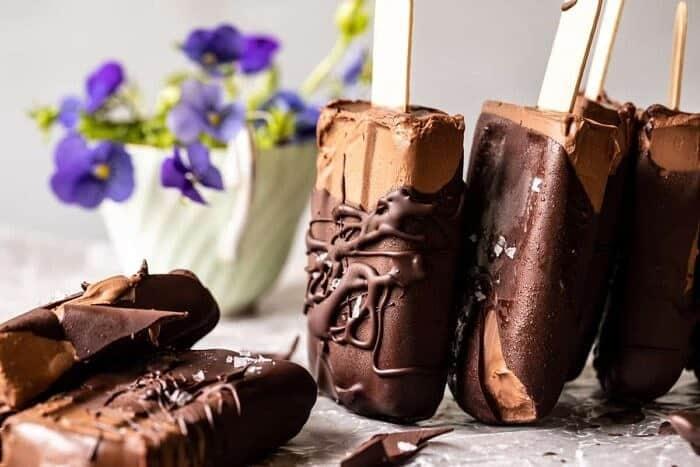 side angled horizontal photo of Creamy Vegan Chocolate Fudge Pops