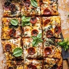 Easy Sheet Pan Tomato Herb Pizza.