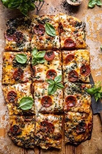 Easy Sheet Pan Tomato Herb Pizza.