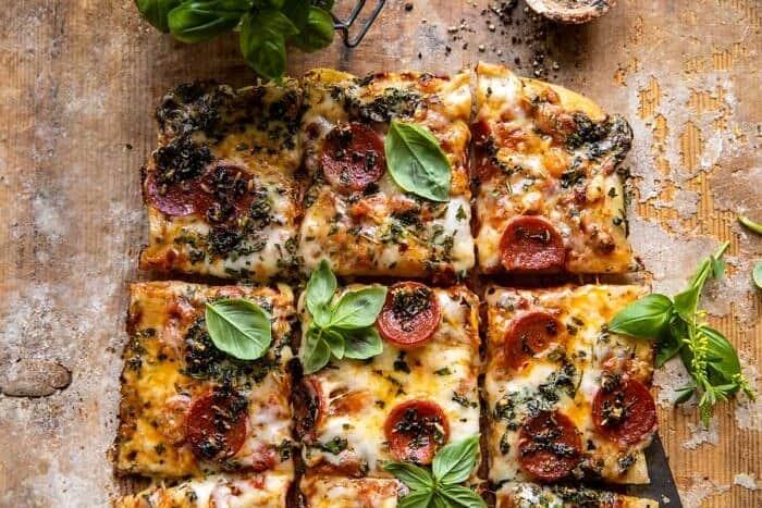 overhead horizontal photo Easy Sheet Pan Tomato Herb Pizza