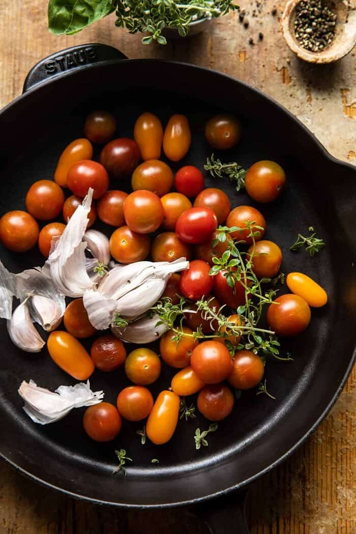 prep photo of tomatoes in skillet before roasting