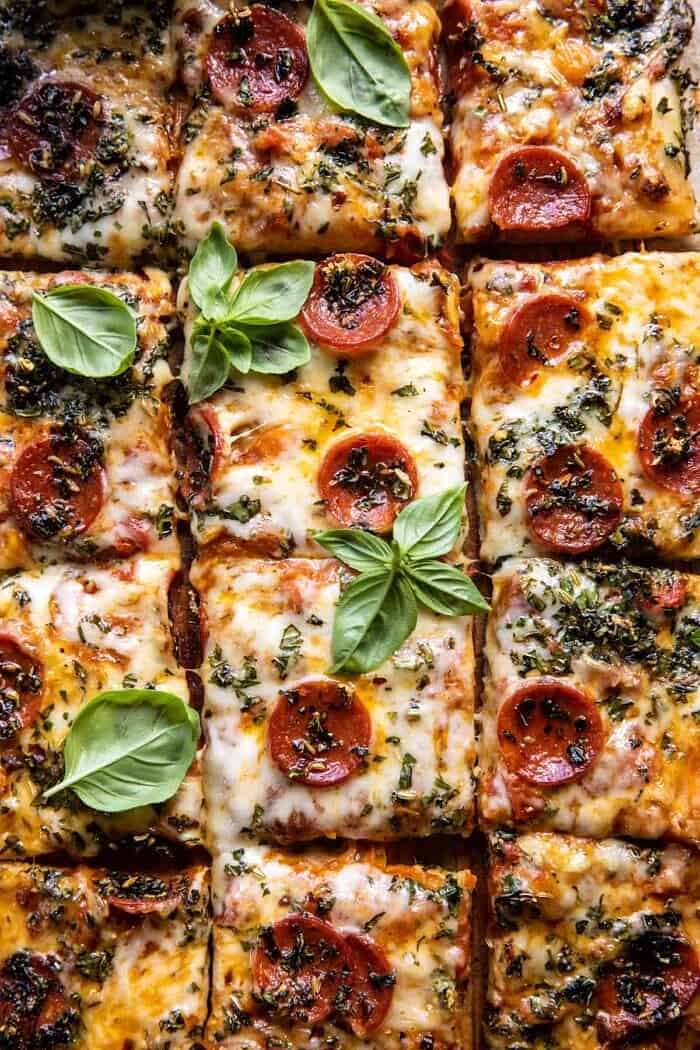 Easy Sheet Pan Tomato Herb Pizza | halfbakedharvest.com