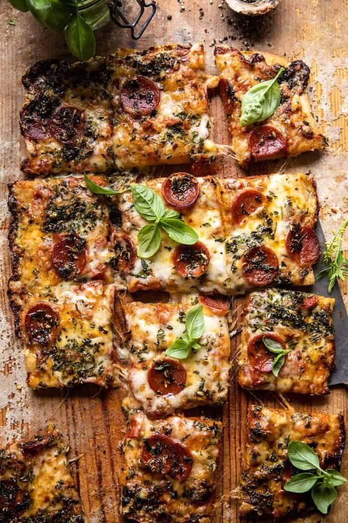 Easy Sheet Pan Tomato Herb Pizza | halfbakedharvest.com