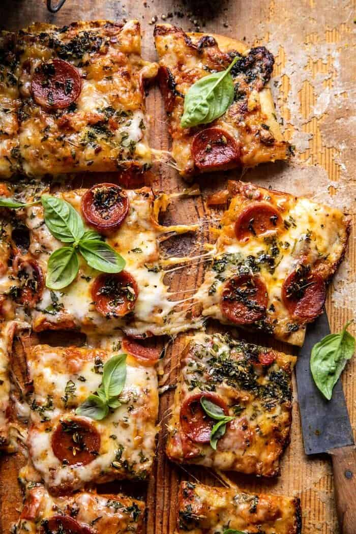 overhead photo of Easy Sheet Pan Tomato Herb Pizza
