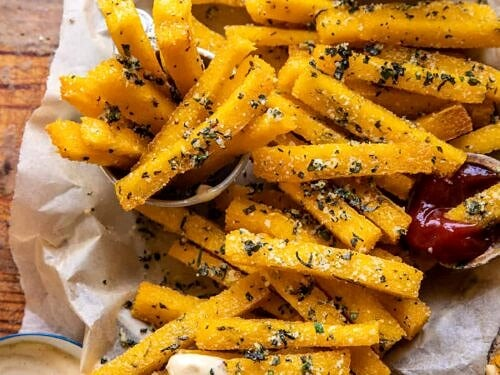 Garlic Parmesan Herb Butter Polenta Fries With Lemon Aioli Half Baked Harvest