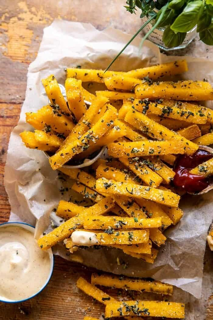 Garlic Parmesan Herb Butter Polenta Fries with Lemon Aioli | halfbakedharvest.com