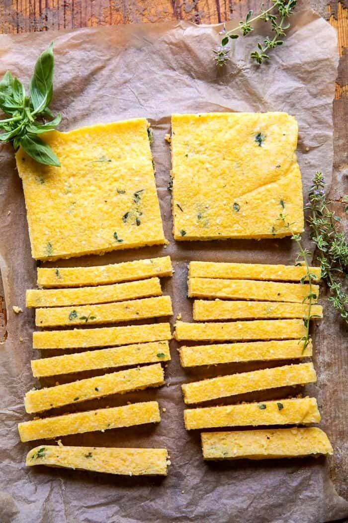 polenta fries before baking