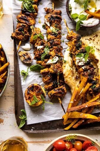 Grilled Chicken Shawarma with Golden Butter Fries and Garlic Sauce | halfbakedharvest.com