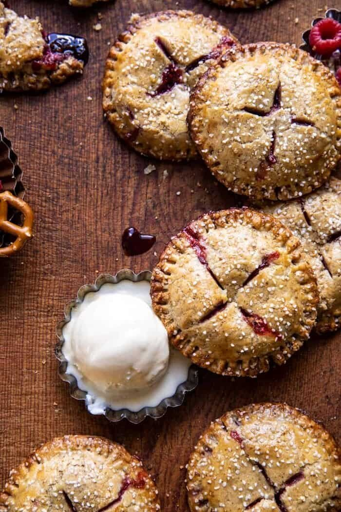Jammy Raspberry Cream Pretzel Hand Pies.