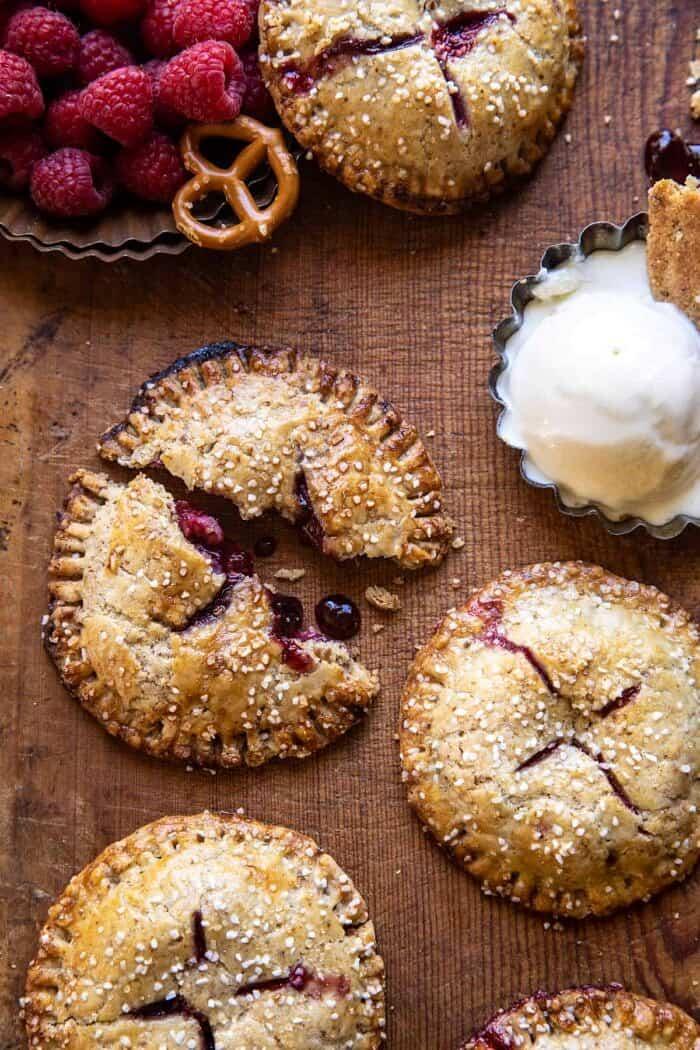 Jammy Raspberry Cream Pretzel Hand Pies | halfbakedharvest.com